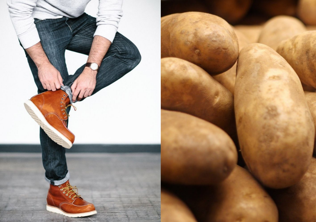 potatoes in shoes